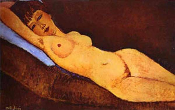 reclining nude with blue cushion 1917 XX collection of mr nathan cummings ny usa